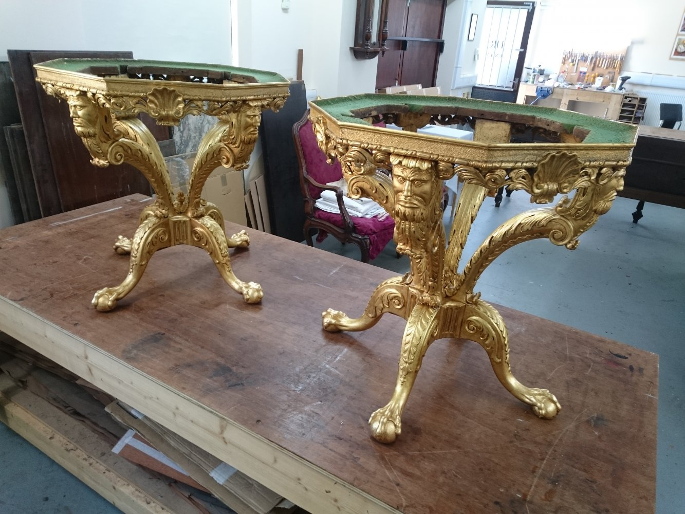 Gilt tables with the gilding restored