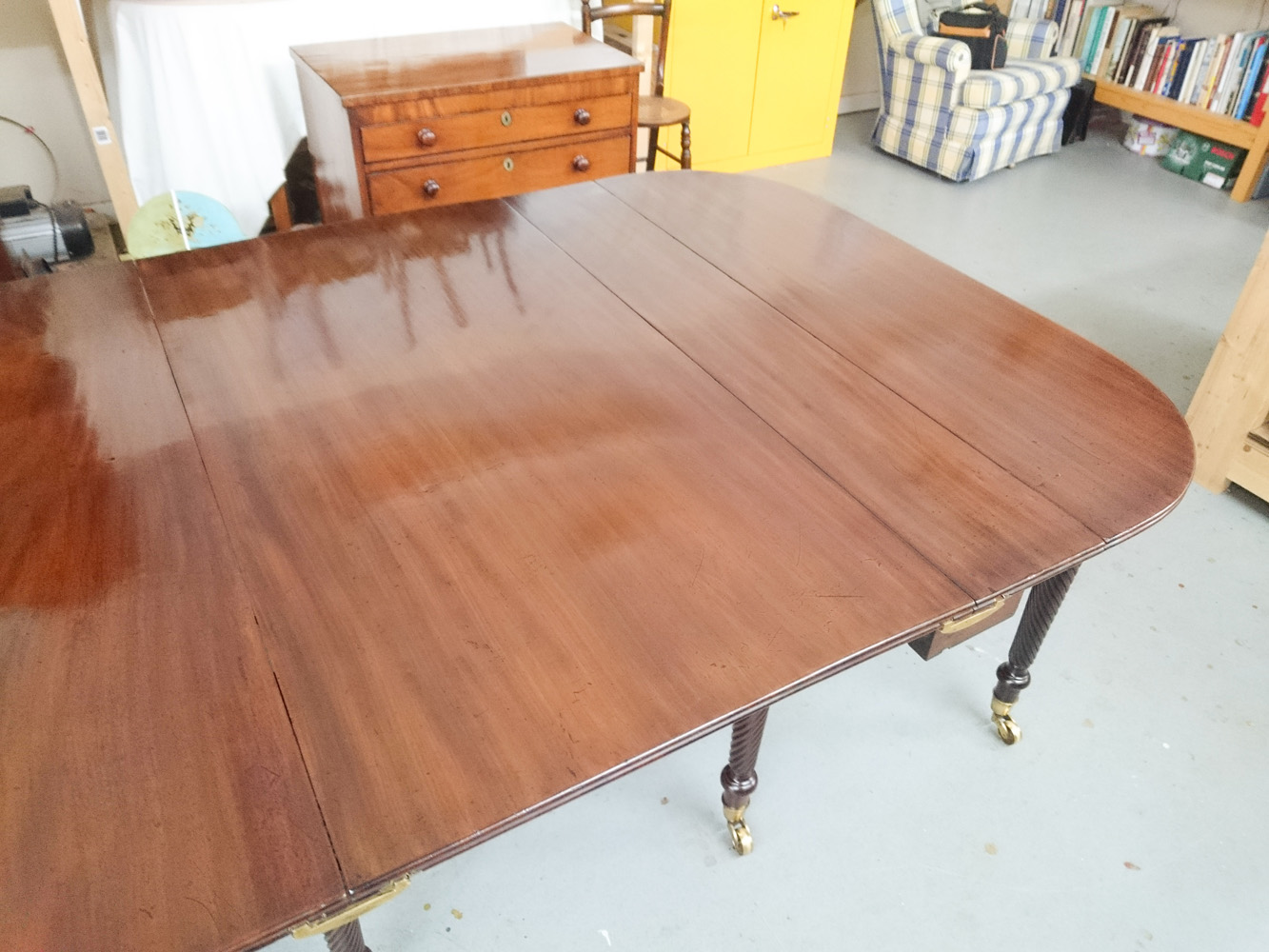 Dining table with burn damage removed