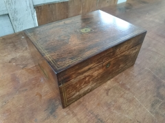 Rosewood box with brass inlay