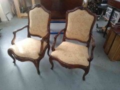 Pair of chairs fully restored and re-upholstered