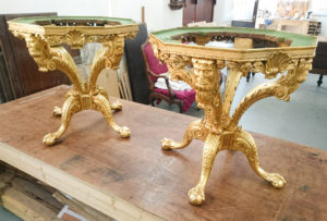 Gold gilding restoration of tables with decorative carvings